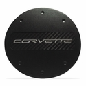 C7 Corvette - Billet Fuel Door - Black Powder Coat : Stingray, Z51 - Silver Lettering