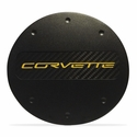 C7 Corvette - Billet Fuel Door - Black Powder Coat : Stingray, Z51 - Yellow Lettering