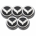 C7 Corvette Cap Cover 5Pc. Set Auto - C7 Crossed-Flags Emblem GM Licensed Chrome/Brushed/Carbon Fiber Inlay Colors