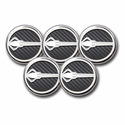 C7 Corvette Cap Cover 5Pc. Set Auto - Stingray Emblem GM Licensed Chrome/Brushed/Carbon Fiber Inlay Colors