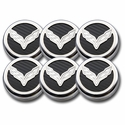 C7 Corvette Cap Cover 6Pc. Set Auto - C7 Crossed-Flags Emblem GM Licensed Chrome/Brushed/Carbon Fiber Inlay Colors