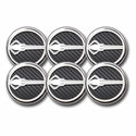 C7 Corvette Cap Cover 6Pc. Set Auto - Stingray Emblem GM Licensed Chrome/Brushed/Carbon Fiber Inlay Colors