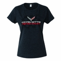 C7 Corvette - Ladies Corvette Racing T-Shirt : Heather Black