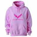 C7 Corvette Ladies Hooded Sweatshirt : Pink