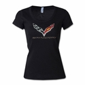 C7 Corvette - Ladies Rhinestone Scoop Neck Tee C7 Flag Logo w/Stingray Script