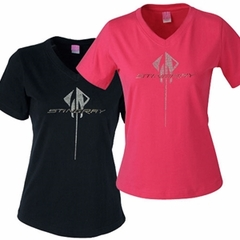 C7 Corvette - Ladies Rhinestone Stingray Logo Scoop Neck Tee - Black