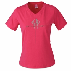 C7 Corvette Ladies Rhinestone Stingray Logo V-Neck Tee : Pink
