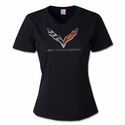C7 Corvette - Ladies Rhinestone V-Neck Tee C7 Flag Logo w/Stingray Script