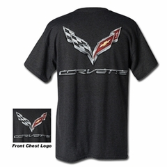 C7 Corvette Logo Flag T-shirt : Charcoal Heather