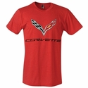 C7 Corvette Logo Flag T-shirt : Heather Red