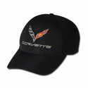 C7 Corvette Logo Micro Fiber with Micro Athletic Mesh Back : Black