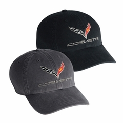 C7 Corvette Logo Premium Garment Washed Cap : Black or Charcoal