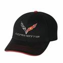 C7 Corvette Logo Premium Structured Cap : Black/Red Sandwich Bill