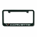 C7 Corvette Stingray Black License Plate Frame w/Crossed Flags Logo