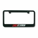 C7 Corvette Stingray Black License Plate Frame w/Z06 Supercharged Script