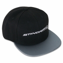 C7 Corvette Stingray Cap w/Horizontal Fish - Black w/Carbon Fiber Texture Bill