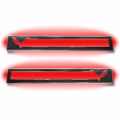 C7 Corvette Stingray Door Sill Carbon Fiber Overlay with Polished Trim & LED Lighting Kit