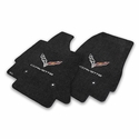 C7 Corvette Stingray Floor Mats - Lloyds Mats with C7 Crossed Flags & Corvette Script : Black