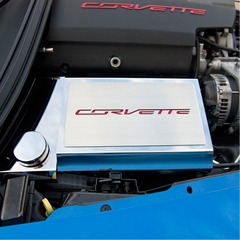 "C7 Corvette Stingray Fuse Box Cover / ""CORVETTE"" Script Carbon Fiber Inlay Colors"