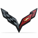 C7 Corvette Stingray GM Crossed Flags Emblem : Carbon Flash