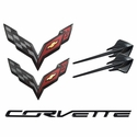 C7 Corvette Stingray GM Emblems - 5pc Set : Carbon Flash