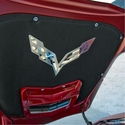 C7 Corvette Stingray Hood Panel Badge - Crossed Flags: Polished/Brushed Stainless Steel - American Car Craft 053021