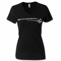 C7 Corvette Stingray - Ladies Metallic V-Neck Tee : Black