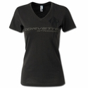 C7 Corvette Stingray - Ladies V-Neck Tee : Charcoal