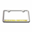 "C7 Corvette Stingray License Plate Frame - Chrome w/Stainless Steel Overlay & Carbon Fiber ""CORVETTE"" Script - American Car Craft 052033"