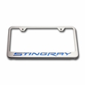 "C7 Corvette Stingray License Plate Frame - Chrome w/Stainless Steel Overlay & Carbon Fiber ""STINGRAY"" Script - American Car Craft 052032-BLK"