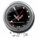 "C7 Corvette Stingray Neon Clock : 20"" Silver/Black Face C7 Crossed Flags"