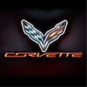 "C7 Corvette Stingray Neon Sign - C7 Crossed Flags with ""CORVETTE"" Script"