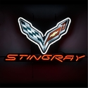 "C7 Corvette Stingray Neon Sign - C7 Crossed Flags with ""STINGRAY"" Script"