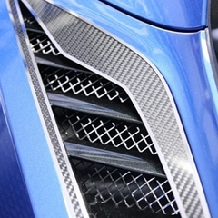 C7 Corvette Stingray Rear Quarter Vent Grilles 2Pc Polished Laser Mesh