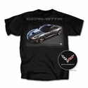 C7 Corvette Stingray T-Shirt with Car : Black