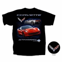 C7 Corvette - Stingray T-shirt with Red Car : Black