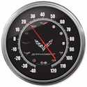 "C7 Corvette Stingray Thermometer : 14"" Black C7 Crossed Flags"