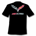 C7 Corvette Stingray Z06 with Crossed Flags T-shirt : Black - Ralph White Merchandising NC192
