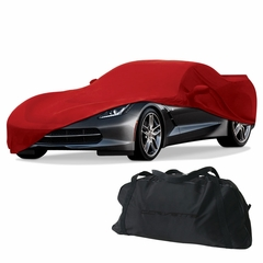 C7 Corvette Stretch Satin Indoor Car Cover w/ Flags Logo