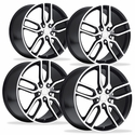 C7 Corvette Z51 Style Wheels (Set) : Black w/Machined Face