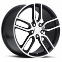 C7 Corvette Z51 Style Wheels (Set) : Black w/Machined Face 18x8.5/19x10 C6 & C7