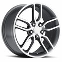 C7 Corvette Z51 Style Wheels (Set) : Grey w/Machined Face 18x8.5/19x10 C6 & C7