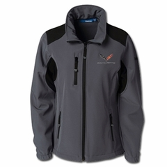 C7 Logo Corvette Ladies Reebok Softshell Jacket - Graphite