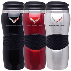 C7 Logo Corvette Maui Gripper Tumbler - Black, Stainless Steel or Red