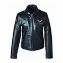 C7 Logo Corvette Stingray Ladies Leather Bomber Jacket
