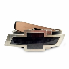 Chevy Bowtie Black Leather Belt