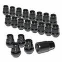 Chrome Acorn Lug Nuts with Wheel Locks - Black (Set)