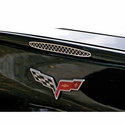 Corvette 5th Brake Light Trim / Laser Mesh - Polished Stainless Steel : 2005-2013 C6,Z06,ZR1,Grand Sport