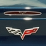 Corvette 5th Brake Light Trim with Crossed Flags - Polished Stainless Steel : 2005-2013 C6, Z06, ZR1, Grand Sport
