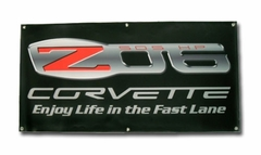 Corvette Banner with Z06 505 HP Enjoy Life in the Fast Lane (06-12 Z06)